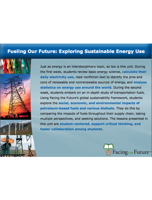 Fueling Our Future: Exploring Sustainable Energy Use, Grades 9-12, Smartboard