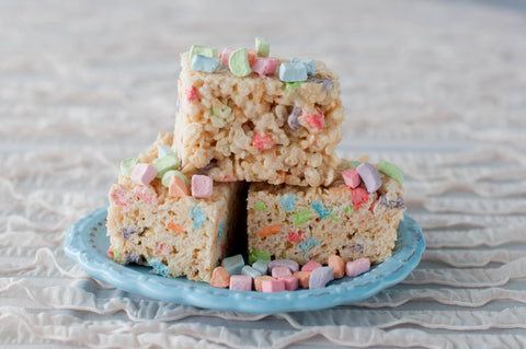 Easter Rice Krispie Bar with Lucky Charm Marshmallows