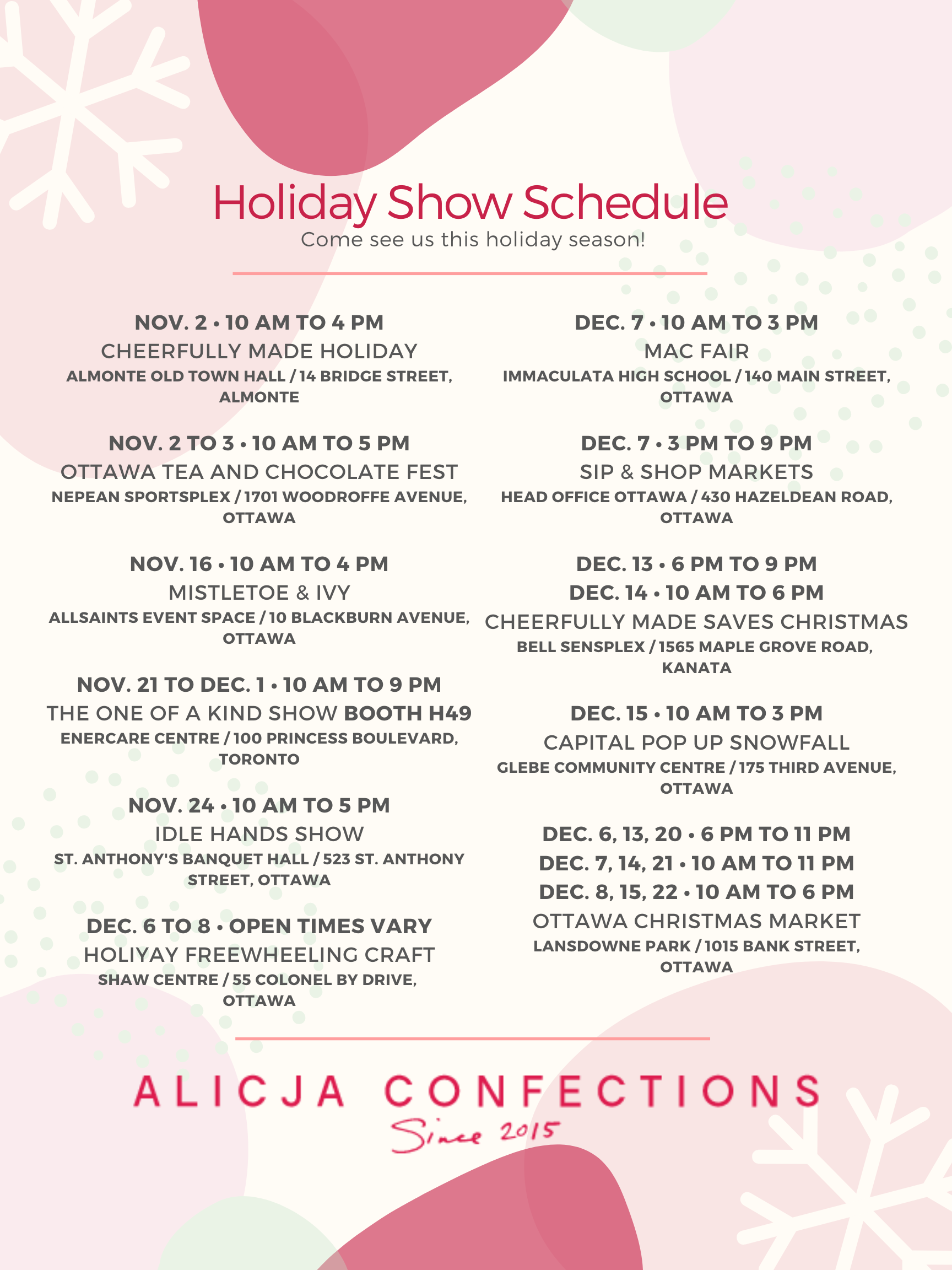 Our 2019 holiday schedule.