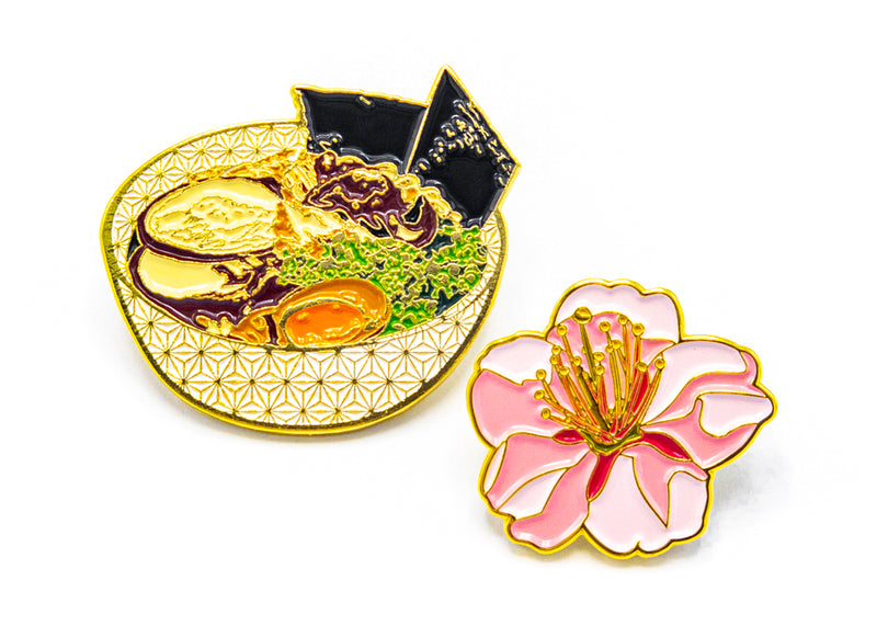 Ramen Bowl & Matcha • 2 Enamel Pin Set