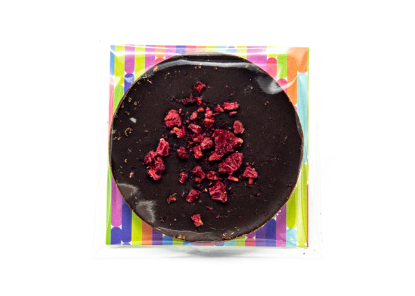 Tart • Raspberries & Lime • Dark Chocolate Disc