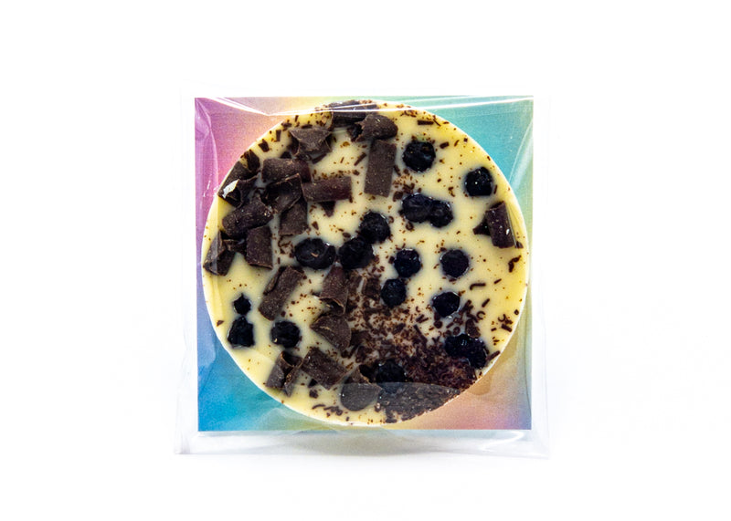 Fruit • Chocolate Blueberries • White Chocolate Disc