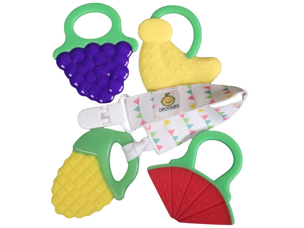 Drooleecious Teether Toys with Pacifier Clip