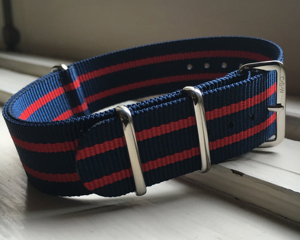 22mm Premium Navy/Red Stripes Milspec Nylon