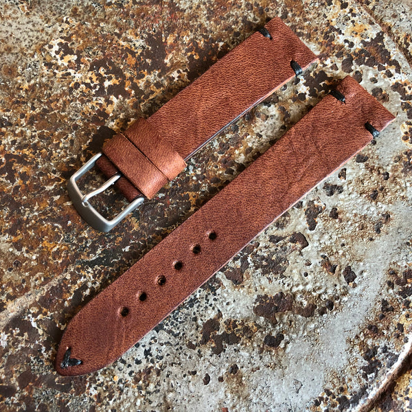 """2 Stitch"" Odd Size Hand made leather strap Horween Apoco Brown"