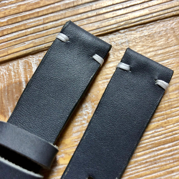 """2 Stitch"" Odd Size Hand made leather strap Horween Blue Gray"