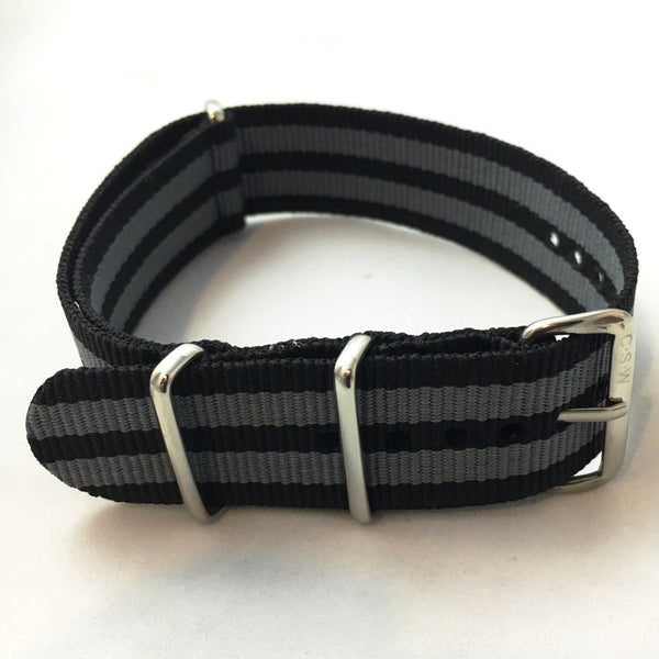 "22mm ""Supple"" Black and Gray Bond Polyester Strap - Cincy Strap Works"
