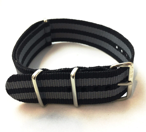 "20mm ""Supple"" Black and Gray Bond Polyester - Cincy Strap Works"