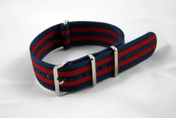 "20mm Premium Navy/Red ""Bond"" Nylon - Cincy Strap Works"