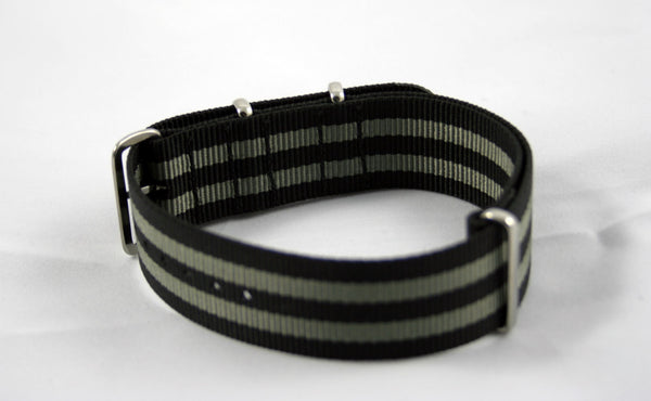 "18mm Premium Black/Gray ""Bond"" Nylon - Cincy Strap Works"