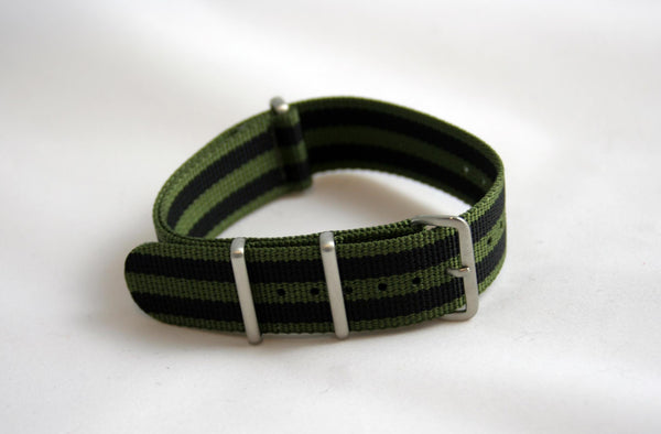 "18MM Premium ""Infantry"" Olive/Black stripe Nylon - Cincy Strap Works"