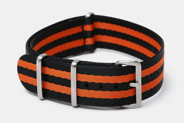 "20mm ""SB"" Black/Orange Bond Seat Belt Strap - Cincy Strap Works"