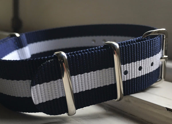 20mm Premium Navy/White stripe Nylon - Cincy Strap Works