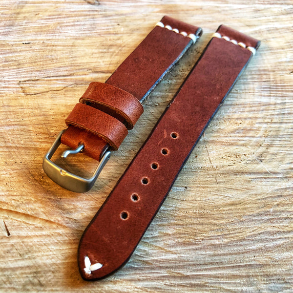 """4 Stitch"" Hand Made Leather Strap Horween Hazel Rust"