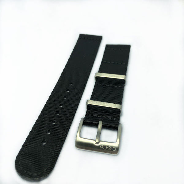 "22mm 2 Piece ""SB"" Solid Black Seat Belt Strap"
