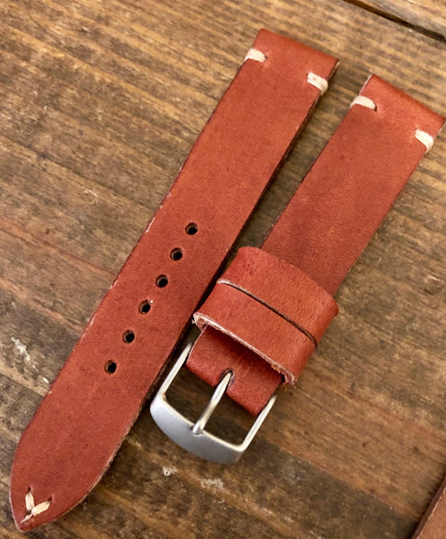 """2 Stitch"" Odd Size Hand made leather strap Horween Hazel Rust"