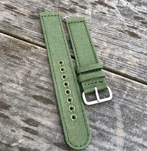 22mm OD Green Canvas strap