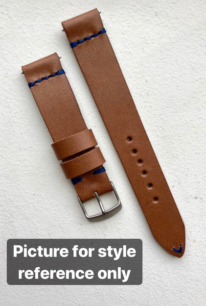 """4 Stitch"" Odd Size Hand made leather strap Horween Blue Gray"