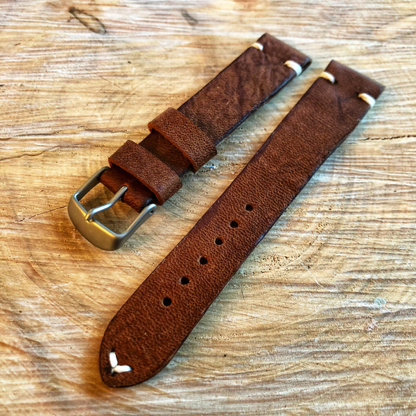 """2 Stitch"" Hand Made Leather Strap Horween Apoco Brown"