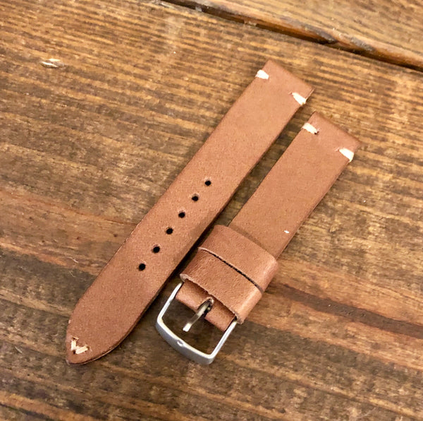 """2 Stitch"" Odd Size Hand made leather strap Horween Natural Old West"
