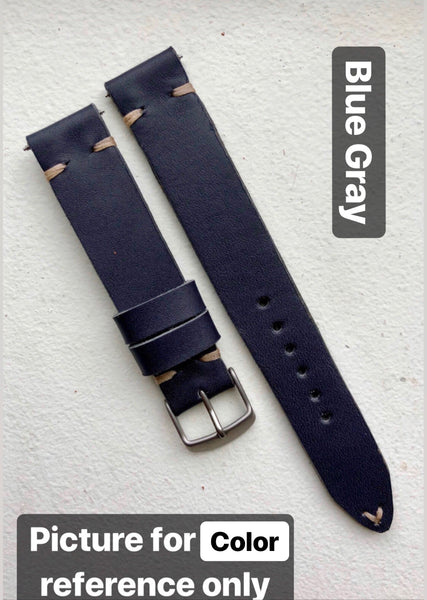 """Single Pass"" Hand Made Leather Strap Horween Blue Gray"
