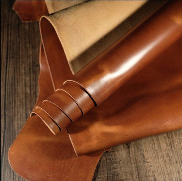 """4 Stitch"" Hand Made Leather Strap Horween Whiskey"
