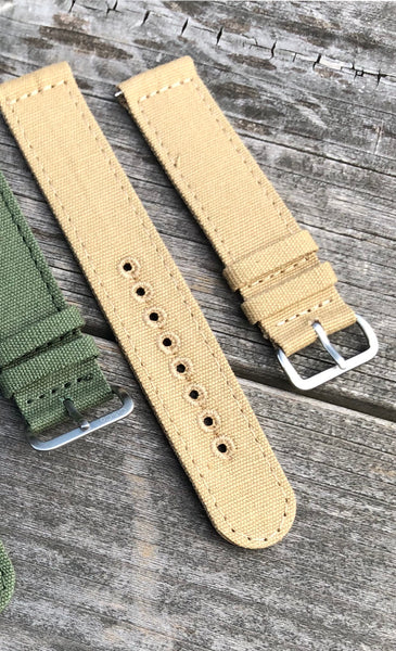 22mm Khaki Canvas strap