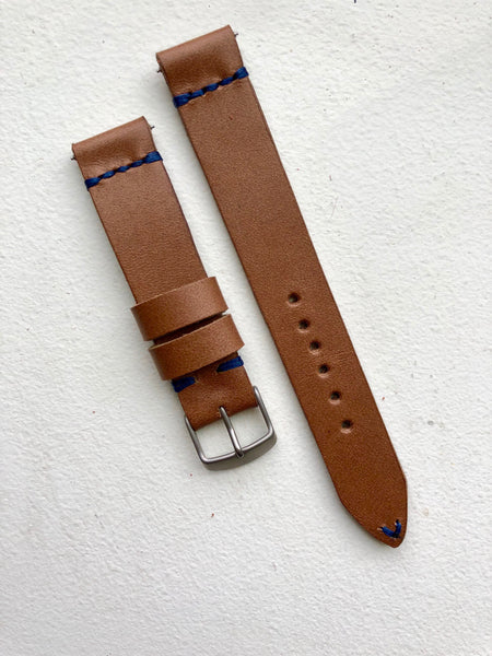 """4 Stitch"" Odd Size Hand made leather strap Horween Natural Old West"