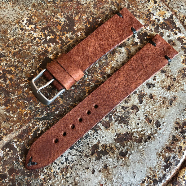 """4 Stitch"" Hand Made Leather Strap Horween Apoco Brown"