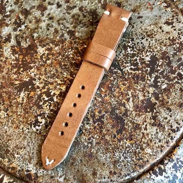 """4 Stitch"" Hand Made Leather Strap Horween Natural Old West"