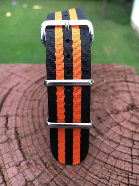 "22mm ""SB"" Black/Orange Bond Seat Belt Strap - Cincy Strap Works"