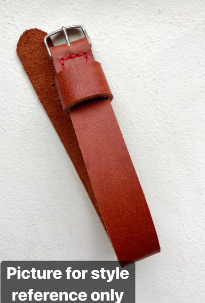 """Single Pass"" Hand Made Leather Strap Horween Natural Old West"