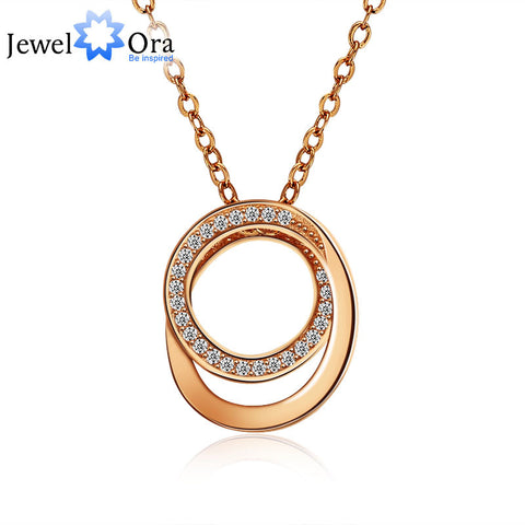 925 Sterling Silver Jewelry Rose Gold Plated Necklaces & Pendants For Women Fashion Cubic Zirconia Pendant (JewelOra  NE101149)