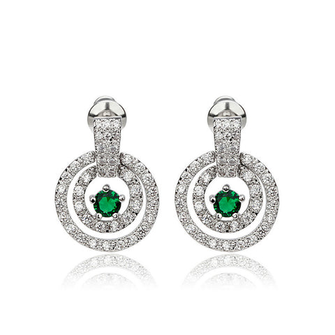 New brinco Lady Jewelry Fashion Emerald Sapphire Green Zircon Wedding 14KT White Gold Filled Studs Earrings for Women Ear0043-GN
