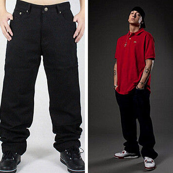 Hip Hop Jeans Men 2015 New Fashion Black Jeans Baggy Loose Fit Free Shipping