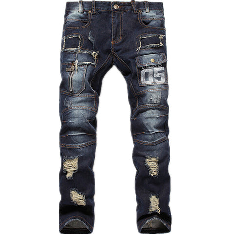 2015 New Mens Ripped Jeans 100% Cotton Brand Designer Denim Joggers For Men Distressed Jeans Pants With Holes Size 30-38 Q1559