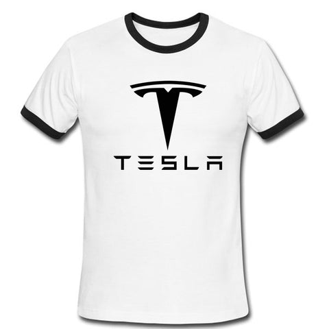 Tesla Men T Shirts Short Sleeve Round Neck Ringer Letter Printed New Arrival Male Tees Casual