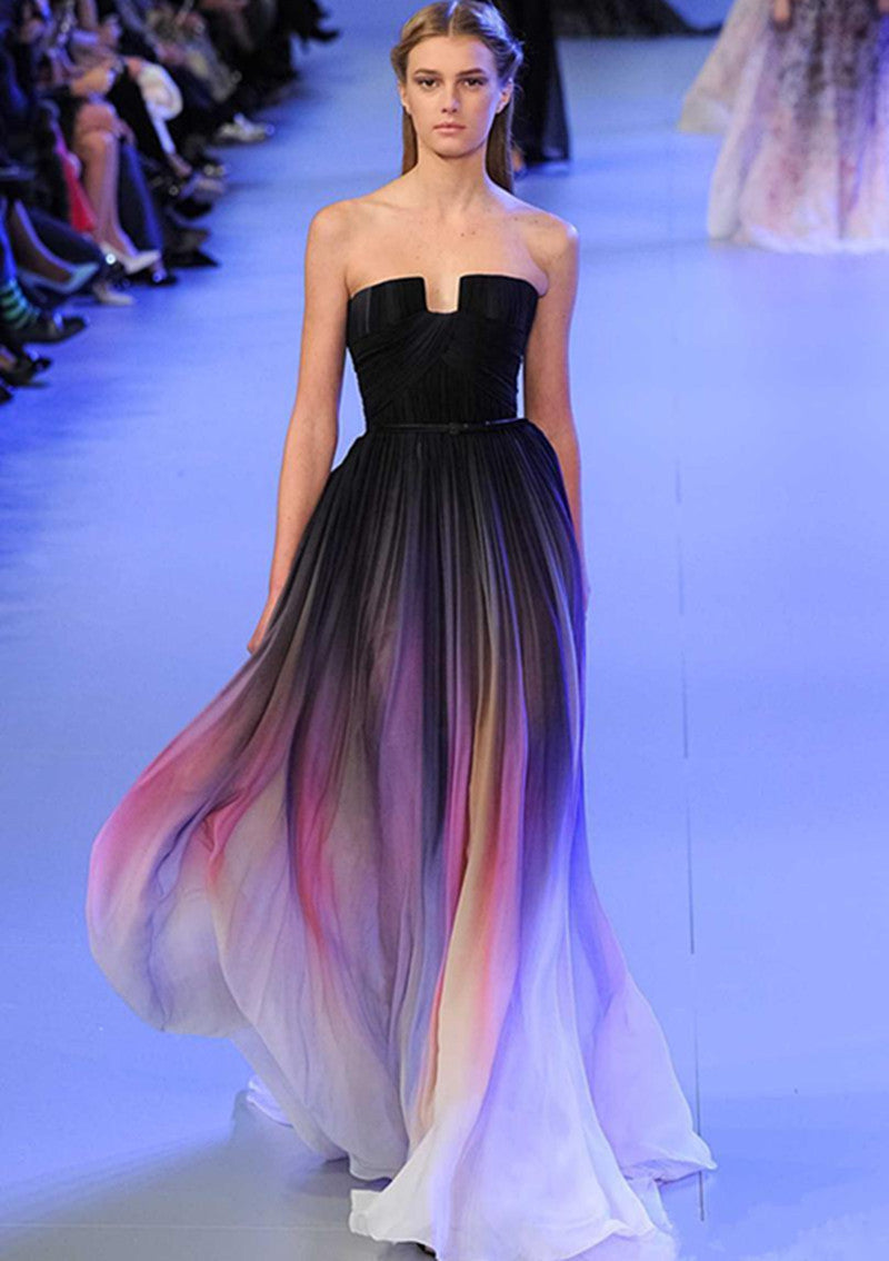 d2f909d96b Elie Saab New Gradient Colorful Ombre Chiffon Prom Dress Evening Dress  Strapless with Pleats Women Dress Navy Lily Collins