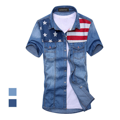 2014 New vintage men's fashion American Flag denim shirt short sleeve light blue jeans shirt free shipping Top quality