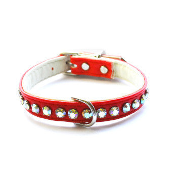 Ashley Designer Red Dog Collar - Snooty Paws