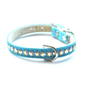 Ashley Designer Blue Teal Dog Collar - Snooty Paws