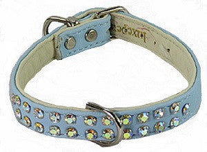 Charlotte Double Row Blue Designer Dog Collar