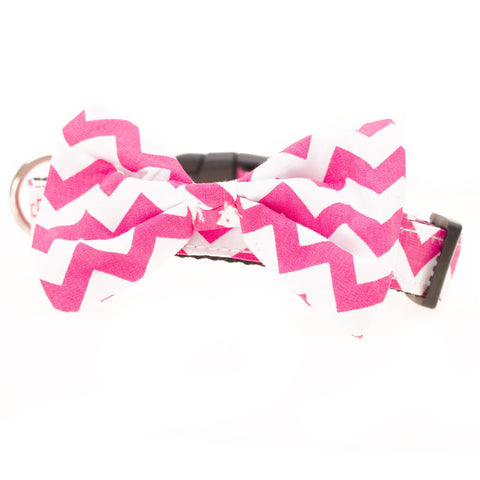Bowtie Collar Pink Chevron - Snooty Paws