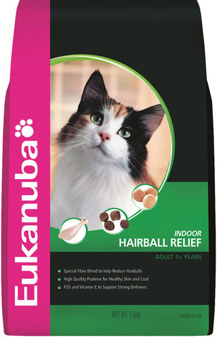 Eukanuba Adult Indoor Hairball Relief Dry Cat Food