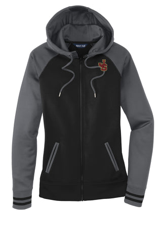 Ladies Moisture Wicking Letterman Full Zip Sweatshirt