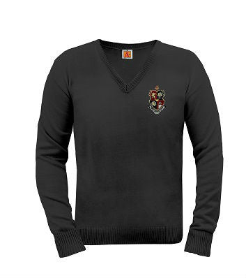 Fine Gauge Unisex Pullover Sweater with Crest