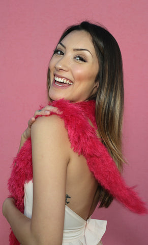 Faux Fur Festival Boa - Hot Pink