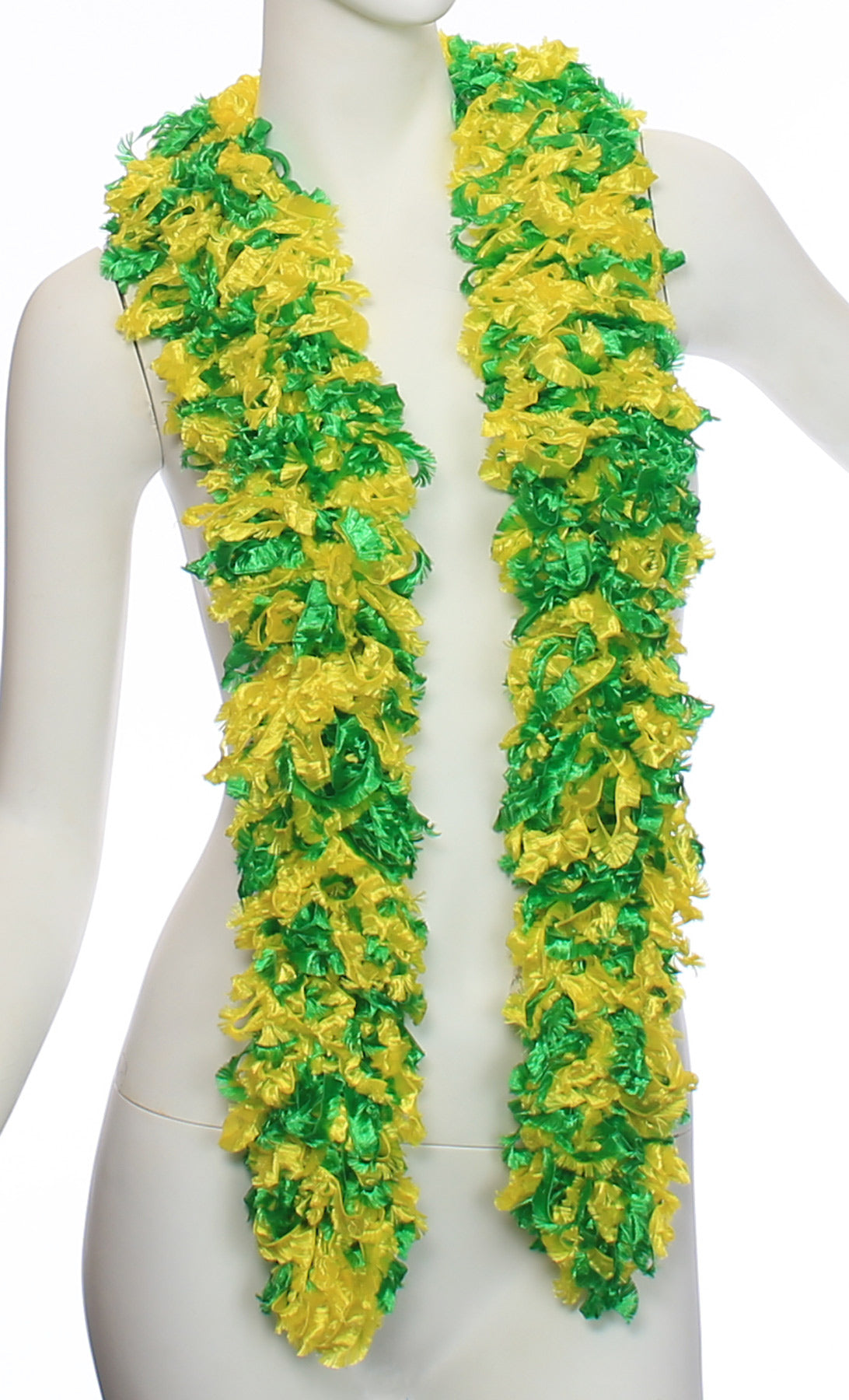 Original Featherless Boa - Green and Yellow - Happy Boa: Faux Feather Boa