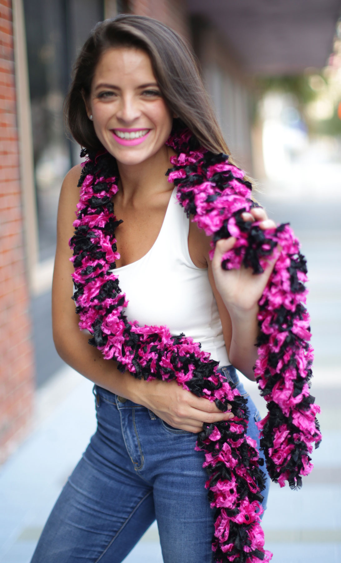Original Featherless Boa - Black and Hot Pink - Happy Boa: Faux Feather Boa