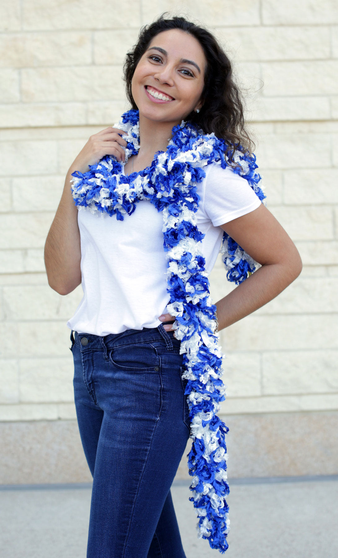 Original Featherless Boa - Cowboy (Blue and White) - Happy Boa: Faux Feather Boa